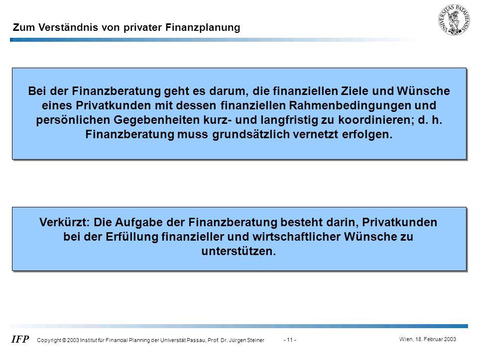 Wien, 18. Februar 2003 IFP Copyright © 2003 Institut für Financial Planning der Universität Passau, Prof. Dr. Jürgen Steiner - 11 - Zum Verständnis vo