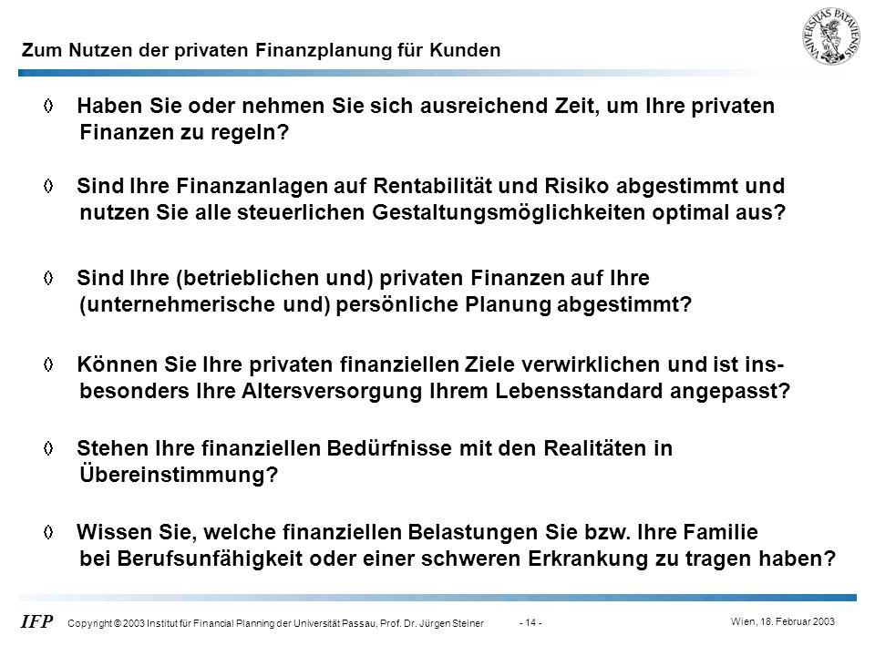 Wien, 18. Februar 2003 IFP Copyright © 2003 Institut für Financial Planning der Universität Passau, Prof. Dr. Jürgen Steiner - 14 - Zum Nutzen der pri
