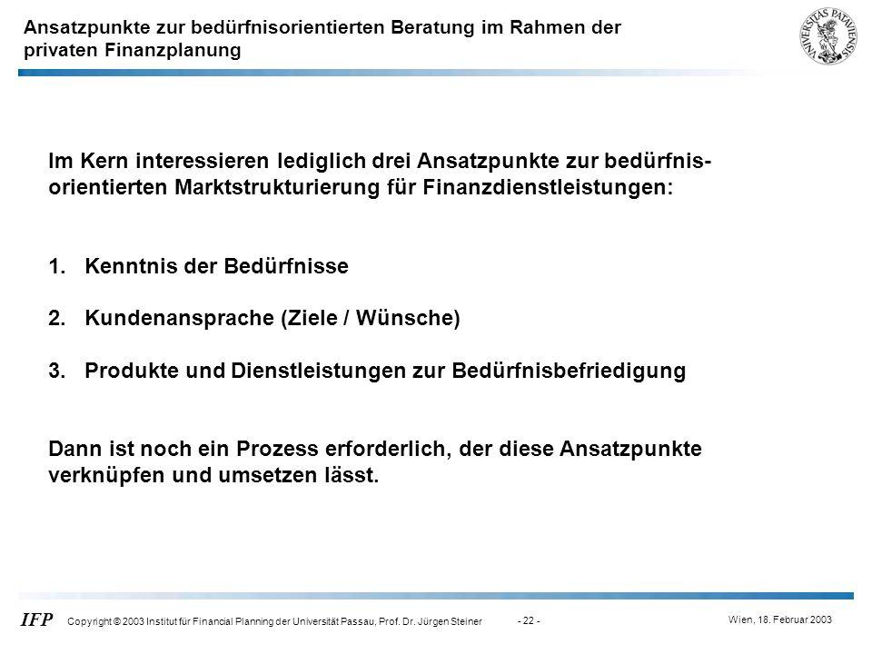 Wien, 18. Februar 2003 IFP Copyright © 2003 Institut für Financial Planning der Universität Passau, Prof. Dr. Jürgen Steiner - 22 - Im Kern interessie