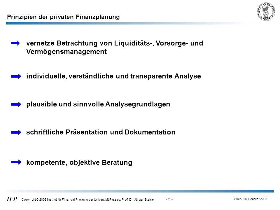Wien, 18. Februar 2003 IFP Copyright © 2003 Institut für Financial Planning der Universität Passau, Prof. Dr. Jürgen Steiner - 26 - Prinzipien der pri