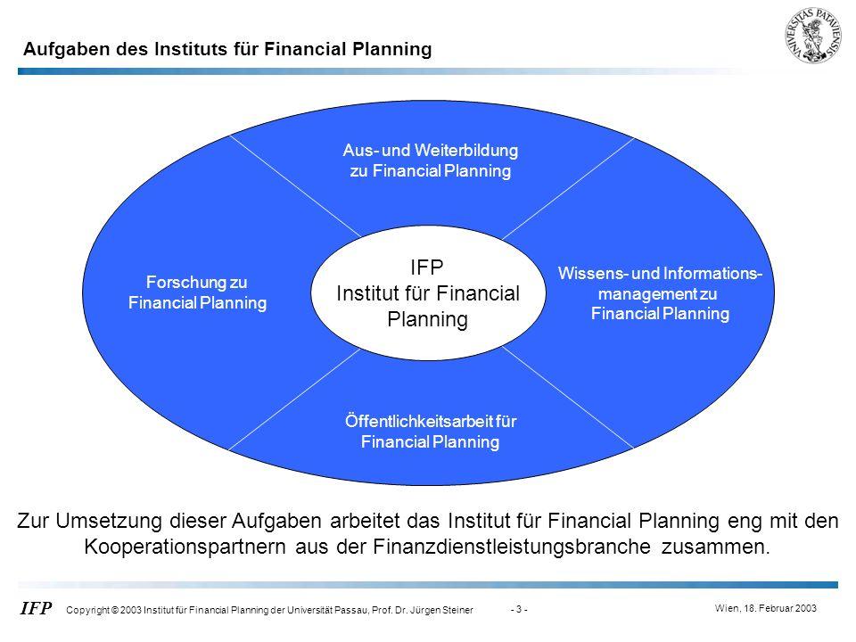 Wien, 18. Februar 2003 IFP Copyright © 2003 Institut für Financial Planning der Universität Passau, Prof. Dr. Jürgen Steiner - 3 - Aus- und Weiterbild