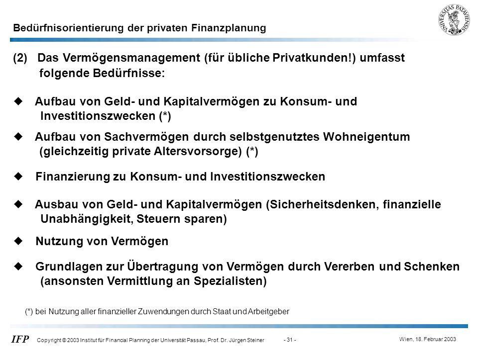 Wien, 18. Februar 2003 IFP Copyright © 2003 Institut für Financial Planning der Universität Passau, Prof. Dr. Jürgen Steiner - 31 - (2) Das Vermögensm