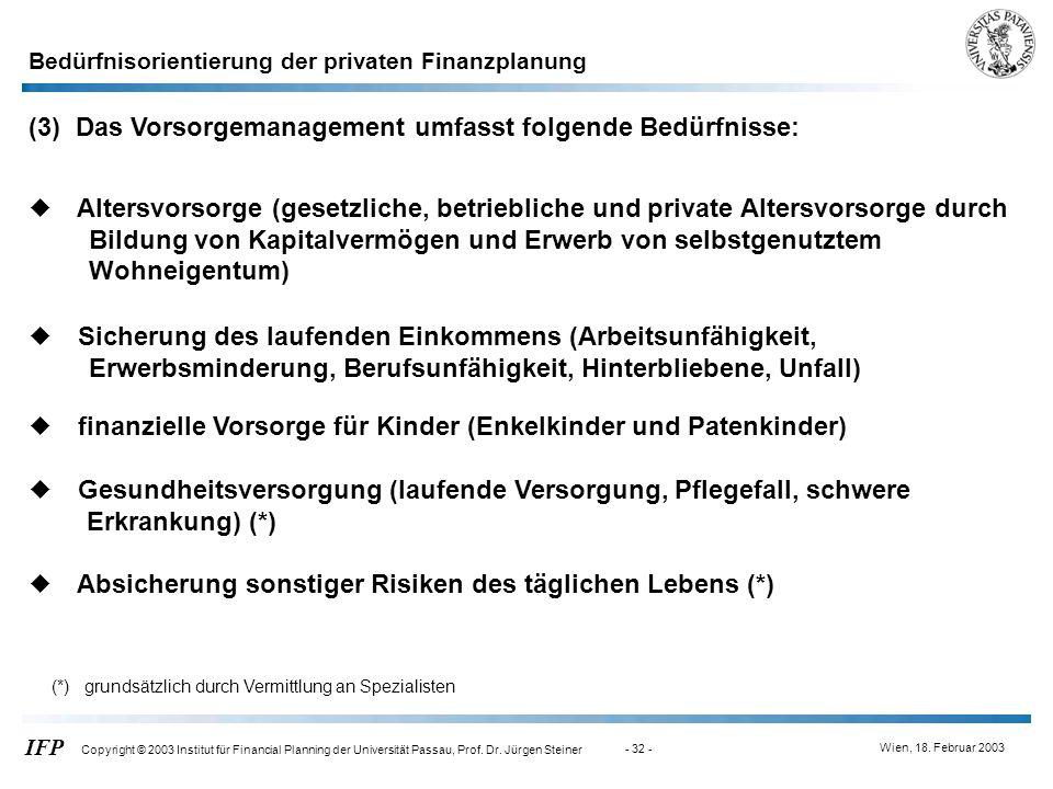 Wien, 18. Februar 2003 IFP Copyright © 2003 Institut für Financial Planning der Universität Passau, Prof. Dr. Jürgen Steiner - 32 - (3) Das Vorsorgema