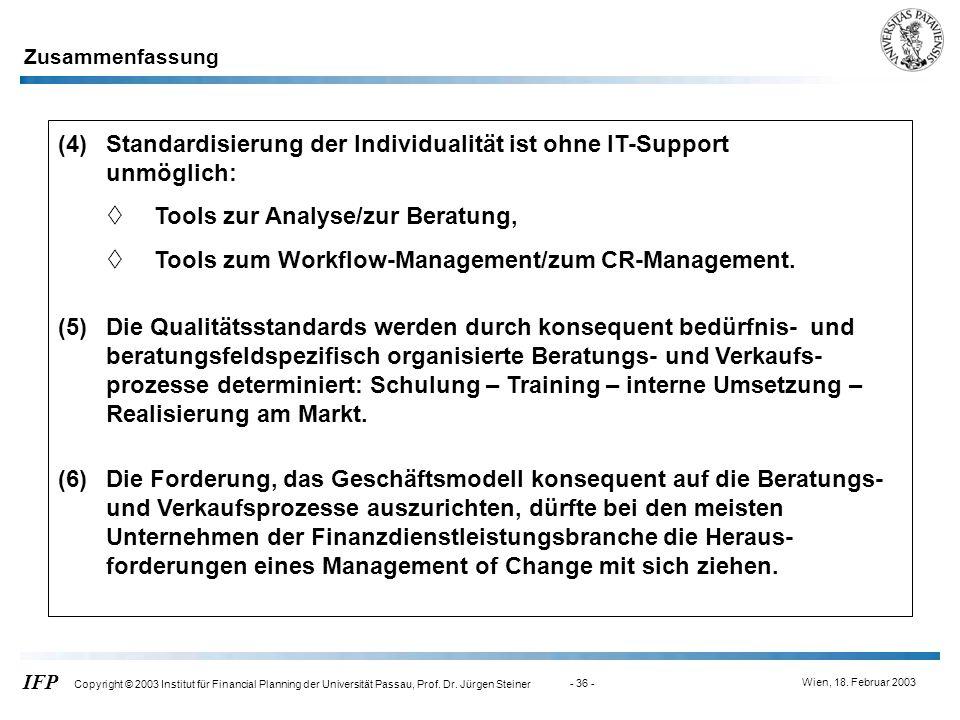Wien, 18. Februar 2003 IFP Copyright © 2003 Institut für Financial Planning der Universität Passau, Prof. Dr. Jürgen Steiner - 36 - (5)Die Qualitätsst