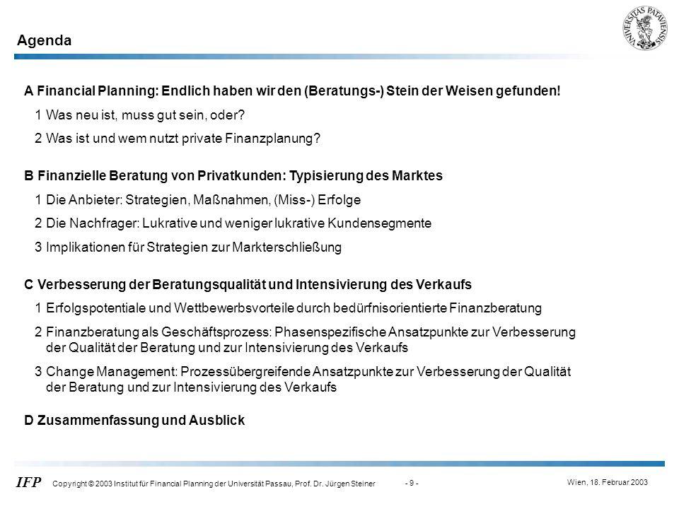 Wien, 18. Februar 2003 IFP Copyright © 2003 Institut für Financial Planning der Universität Passau, Prof. Dr. Jürgen Steiner - 9 - A Financial Plannin
