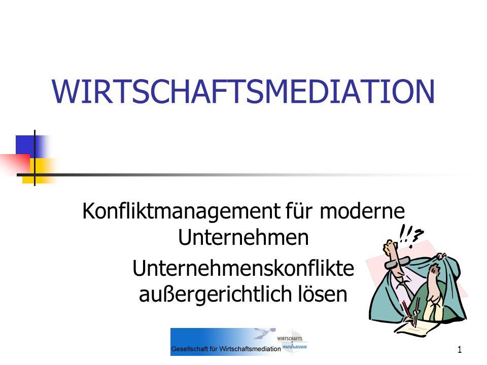 1 WIRTSCHAFTSMEDIATION Konfliktmanagement für moderne Unternehmen Unternehmenskonflikte außergerichtlich lösen