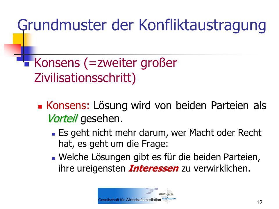 12 Grundmuster der Konfliktaustragung Konsens (=zweiter großer Zivilisationsschritt) Vorteil Konsens: Lösung wird von beiden Parteien als Vorteil gese