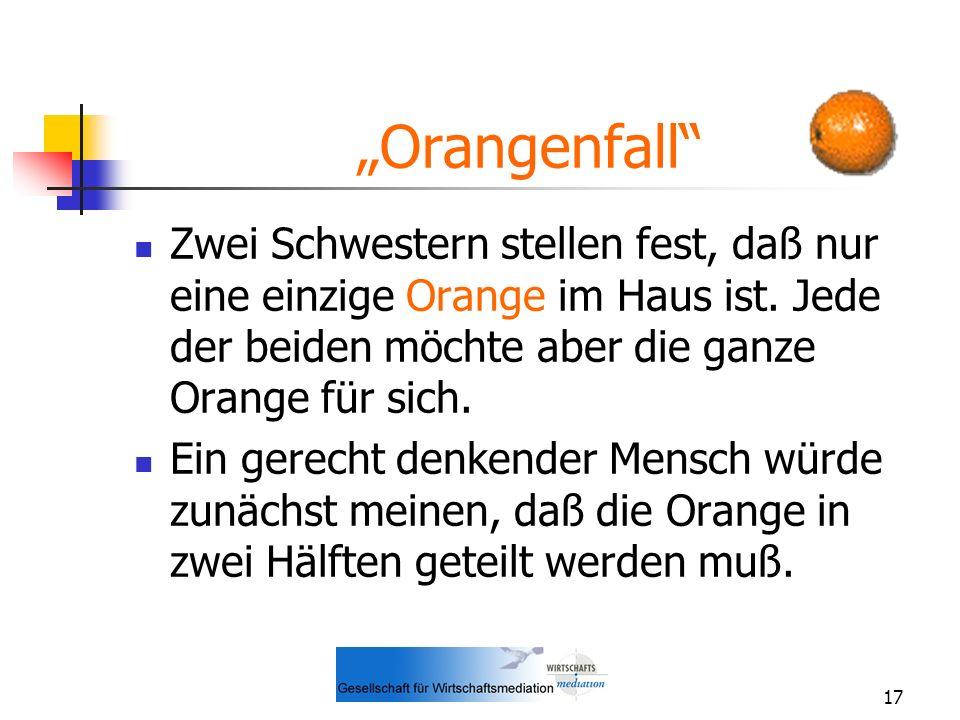 17 Orangenfall Zwei Schwestern stellen fest, daß nur eine einzige Orange im Haus ist. Jede der beiden möchte aber die ganze Orange für sich. Ein gerec
