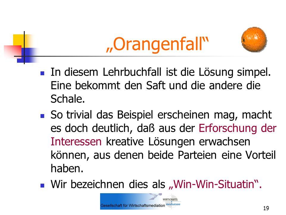 19 Orangenfall In diesem Lehrbuchfall ist die Lösung simpel. Eine bekommt den Saft und die andere die Schale. So trivial das Beispiel erscheinen mag,