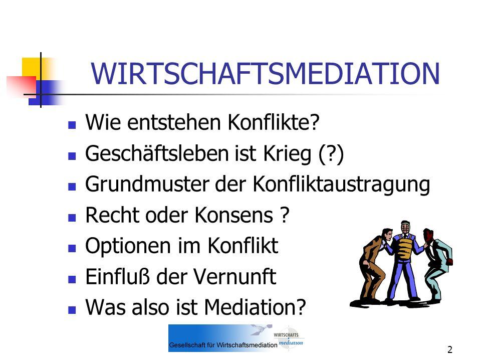 3 WIRTSCHAFTSMEDIATION Weitere Besonderheiten der Mediation Zur geschichtlichen Entwicklung der Mediation Ablauf einer Mediation Vorteile der Wirtschaftsmediation Typische Anwendungsfälle der Wirtschaftsmediation
