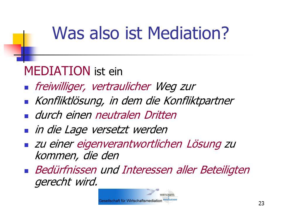 23 Was also ist Mediation? MEDIATION ist ein freiwilliger, vertraulicher Weg zur Konfliktlösung, in dem die Konfliktpartner durch einen neutralen Drit
