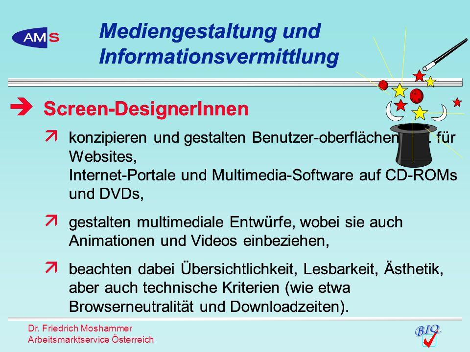 Dr. Friedrich Moshammer Arbeitsmarktservice Österreich konzipieren und gestalten Benutzer-oberflächen u.a. für Websites, Internet-Portale und Multimed