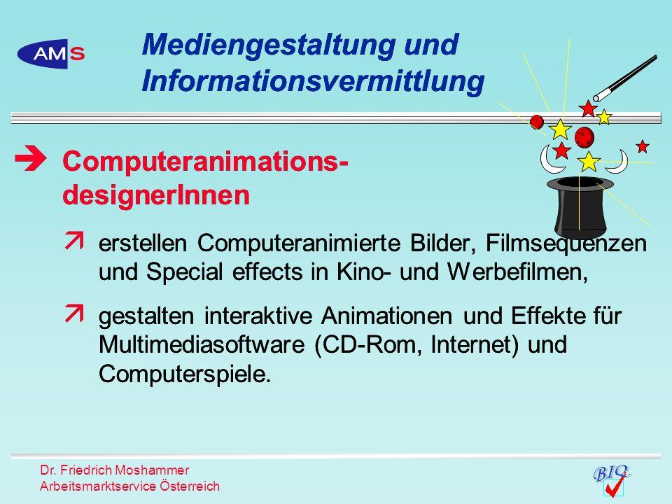 Dr. Friedrich Moshammer Arbeitsmarktservice Österreich erstellen Computeranimierte Bilder, Filmsequenzen und Special effects in Kino- und Werbefilmen,