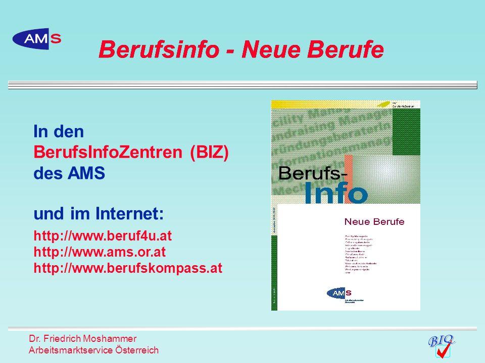 Dr. Friedrich Moshammer Arbeitsmarktservice Österreich Berufsinfo - Neue Berufe In den BerufsInfoZentren (BIZ) des AMS und im Internet: http://www.ber