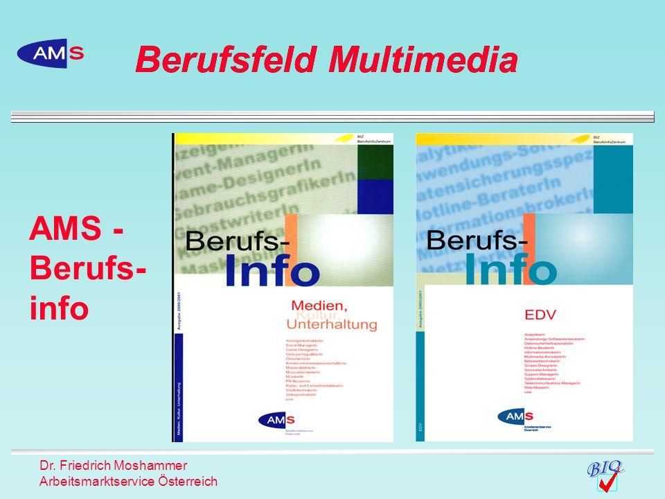 Dr. Friedrich Moshammer Arbeitsmarktservice Österreich AMS - Berufs- info Berufsfeld Multimedia