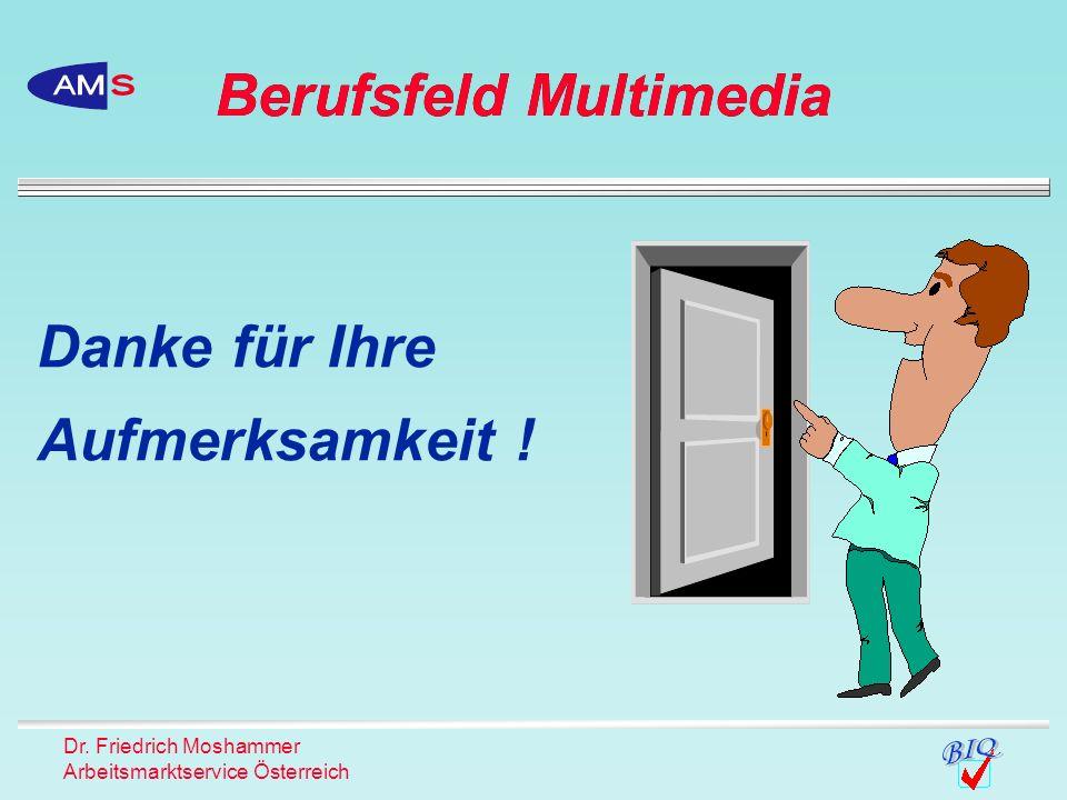 Dr. Friedrich Moshammer Arbeitsmarktservice Österreich Danke für Ihre Aufmerksamkeit ! Berufsfeld Multimedia