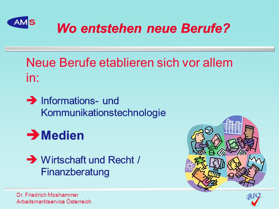Dr. Friedrich Moshammer Arbeitsmarktservice Österreich Wo entstehen neue Berufe? Neue Berufe etablieren sich vor allem in: Informations- und Kommunika
