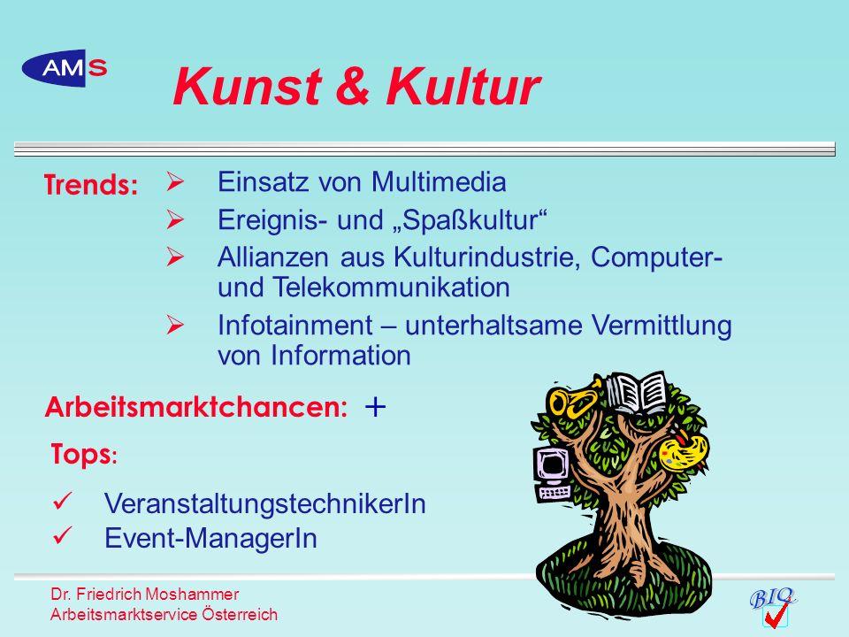 Dr. Friedrich Moshammer Arbeitsmarktservice Österreich Kunst & Kultur Trends : Einsatz von Multimedia Ereignis- und Spaßkultur Allianzen aus Kulturind