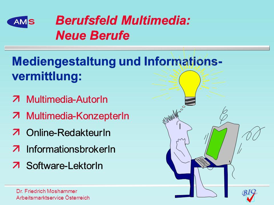 Dr. Friedrich Moshammer Arbeitsmarktservice Österreich Mediengestaltung und Informations- vermittlung: Multimedia-AutorIn Multimedia-KonzepterIn Onlin