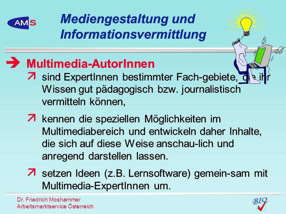 Dr. Friedrich Moshammer Arbeitsmarktservice Österreich sind ExpertInnen bestimmter Fach-gebiete, die ihr Wissen gut pädagogisch bzw. journalistisch ve