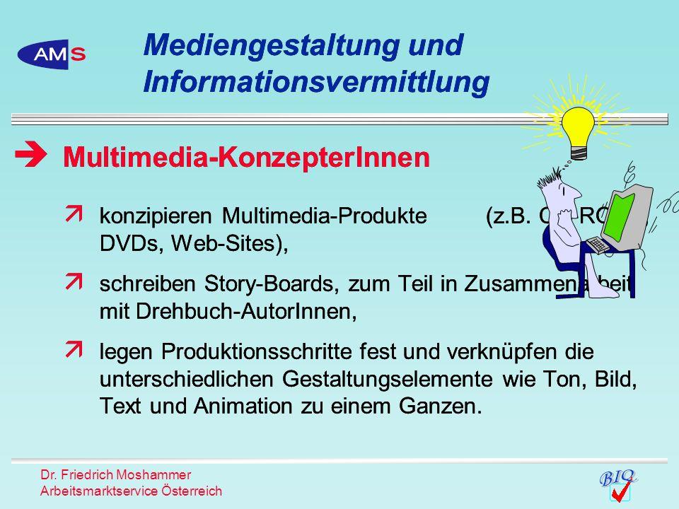 Dr. Friedrich Moshammer Arbeitsmarktservice Österreich konzipieren Multimedia-Produkte (z.B. CD-ROMs, DVDs, Web-Sites), schreiben Story-Boards, zum Te