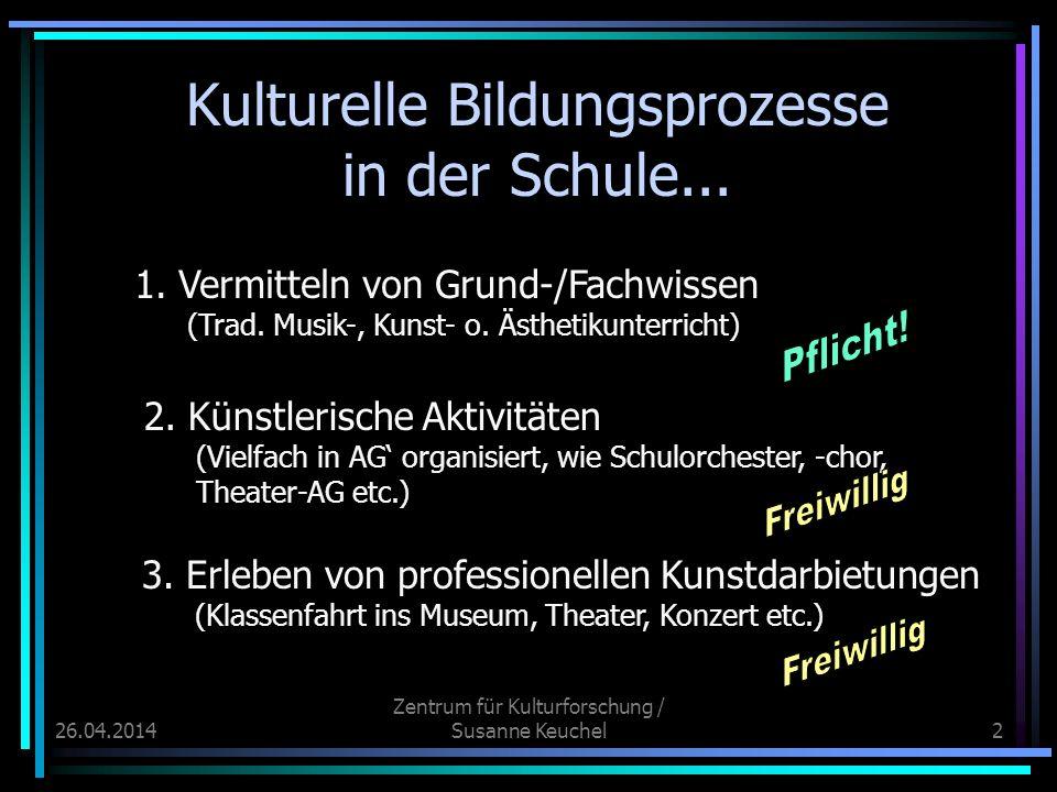 26.04.2014 Zentrum für Kulturforschung / Susanne Keuchel2 Kulturelle Bildungsprozesse in der Schule... 1. Vermitteln von Grund-/Fachwissen (Trad. Musi
