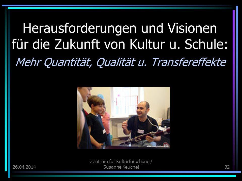 26.04.2014 Zentrum für Kulturforschung / Susanne Keuchel32 Herausforderungen und Visionen für die Zukunft von Kultur u.
