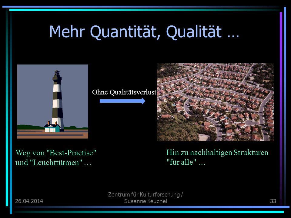 26.04.2014 Zentrum für Kulturforschung / Susanne Keuchel33 Mehr Quantität, Qualität … Weg von