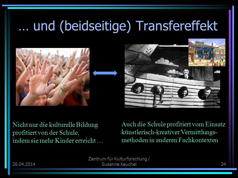 26.04.2014 Zentrum für Kulturforschung / Susanne Keuchel34 … und (beidseitige) Transfereffekt Nicht nur die kulturelle Bildung profitiert von der Schu