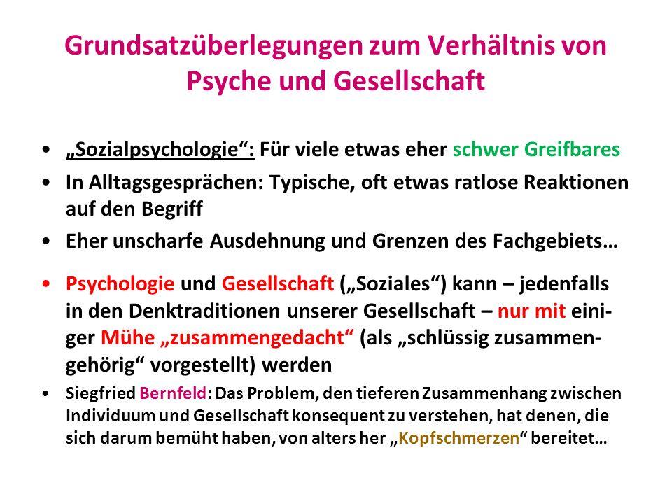 Grundsatzüberlegungen zum Verhältnis von Psyche und Gesellschaft Sozialpsychologie: Für viele etwas eher schwer Greifbares In Alltagsgesprächen: Typis