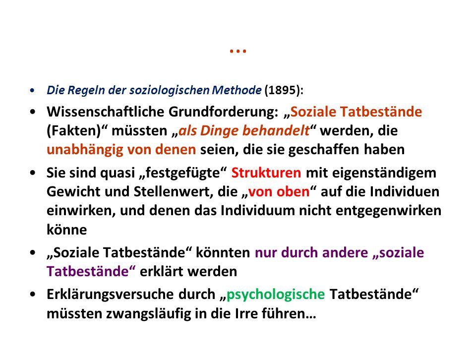 … Die Regeln der soziologischen Methode (1895): Wissenschaftliche Grundforderung: Soziale Tatbestände (Fakten) müssten als Dinge behandelt werden, die