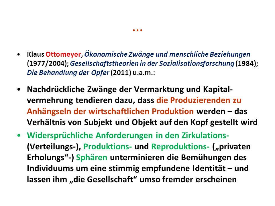 … Klaus Ottomeyer, Ökonomische Zwänge und menschliche Beziehungen (1977/2004); Gesellschaftstheorien in der Sozialisationsforschung (1984); Die Behand