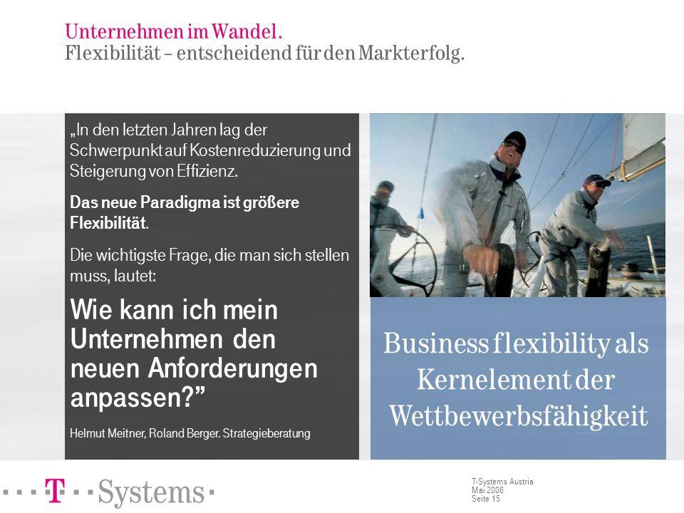 Seite 15 T-Systems Austria Mai 2006 Unternehmen im Wandel. Flexibilität – entscheidend für den Markterfolg. In den letzten Jahren lag der Schwerpunkt