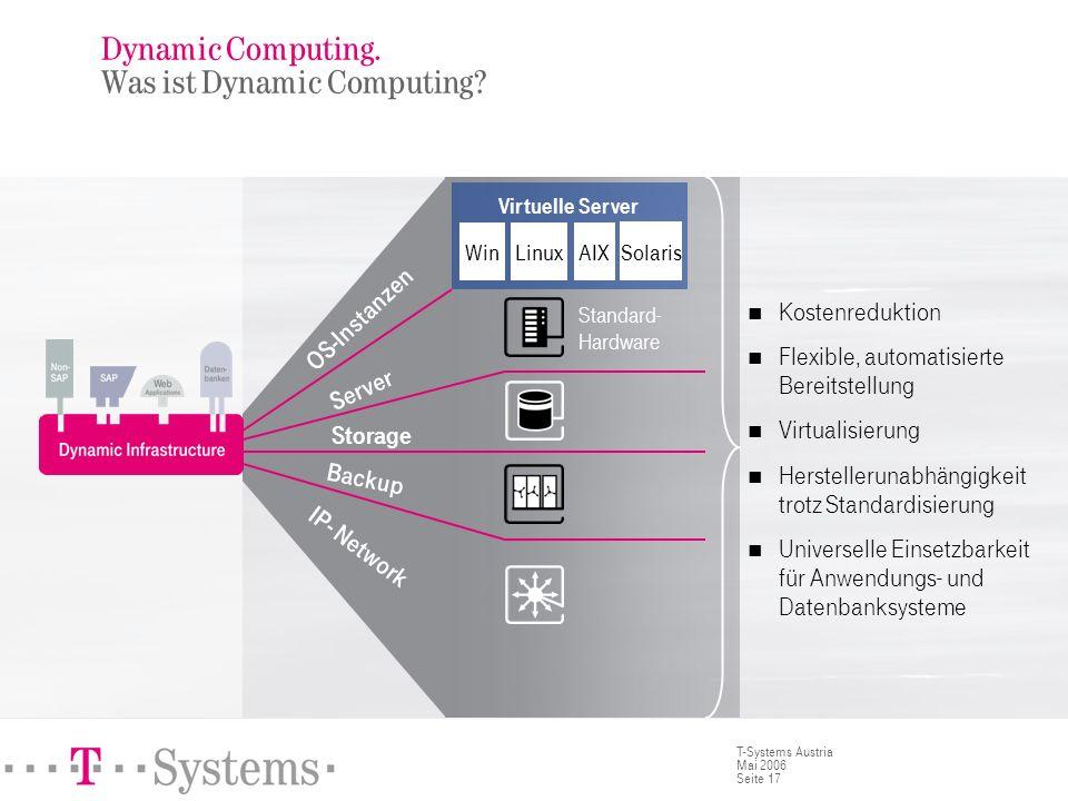 Seite 17 T-Systems Austria Mai 2006 Kostenreduktion Flexible, automatisierte Bereitstellung Virtualisierung Herstellerunabhängigkeit trotz Standardisi