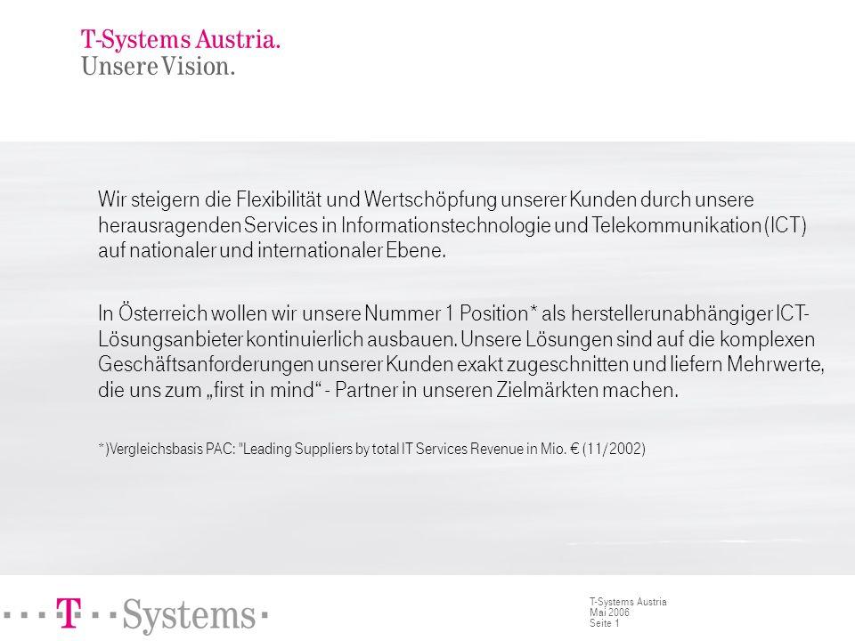 Seite 1 T-Systems Austria Mai 2006 T-Systems Austria. Unsere Vision. Wir steigern die Flexibilität und Wertschöpfung unserer Kunden durch unsere herau