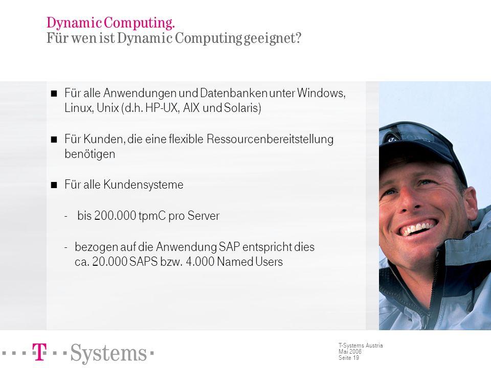 Seite 19 T-Systems Austria Mai 2006 Dynamic Computing. Für wen ist Dynamic Computing geeignet? Für alle Anwendungen und Datenbanken unter Windows, Lin