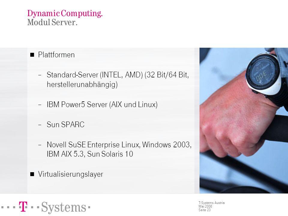 Seite 23 T-Systems Austria Mai 2006 Plattformen Standard-Server (INTEL, AMD) (32 Bit/64 Bit, herstellerunabhängig) IBM Power5 Server (AIX und Linux) S