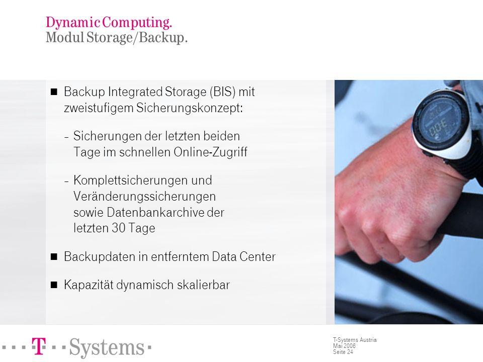 Seite 24 T-Systems Austria Mai 2006 Backup Integrated Storage (BIS) mit zweistufigem Sicherungskonzept: – Sicherungen der letzten beiden Tage im schne