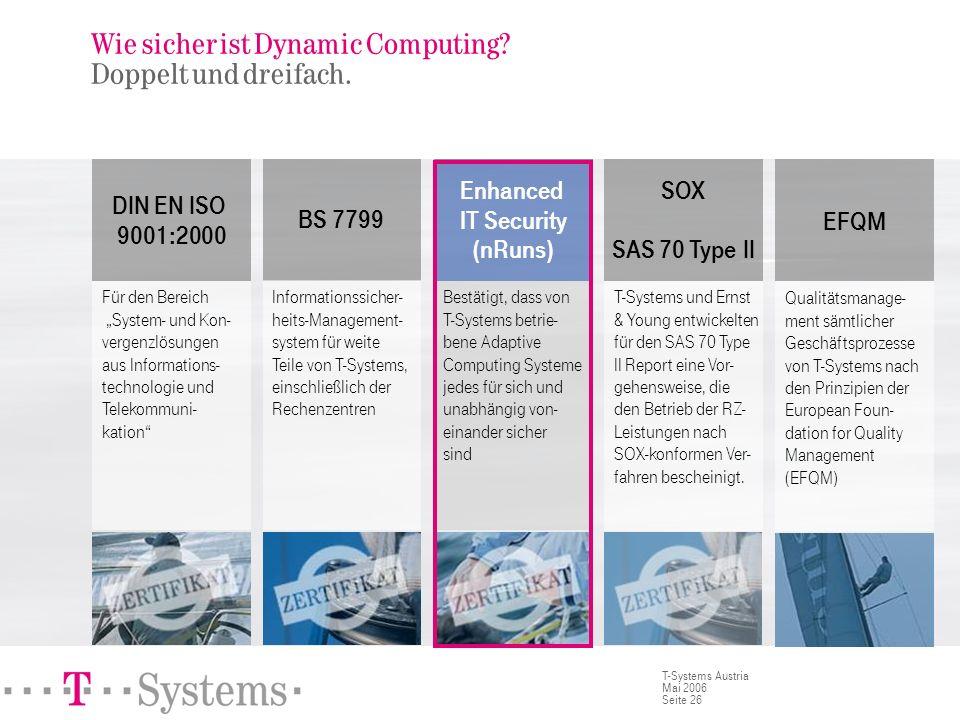 Seite 26 T-Systems Austria Mai 2006 Wie sicher ist Dynamic Computing? Doppelt und dreifach. Für den Bereich System- und Kon- vergenzlösungen aus Infor