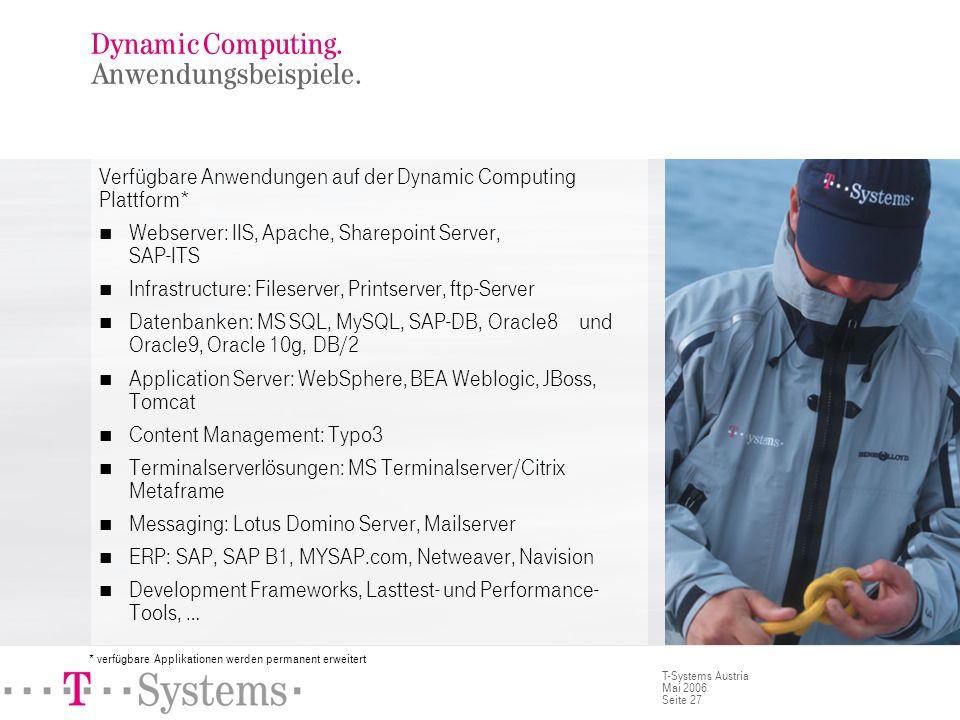 Seite 27 T-Systems Austria Mai 2006 Dynamic Computing. Anwendungsbeispiele. Verfügbare Anwendungen auf der Dynamic Computing Plattform* Webserver: IIS