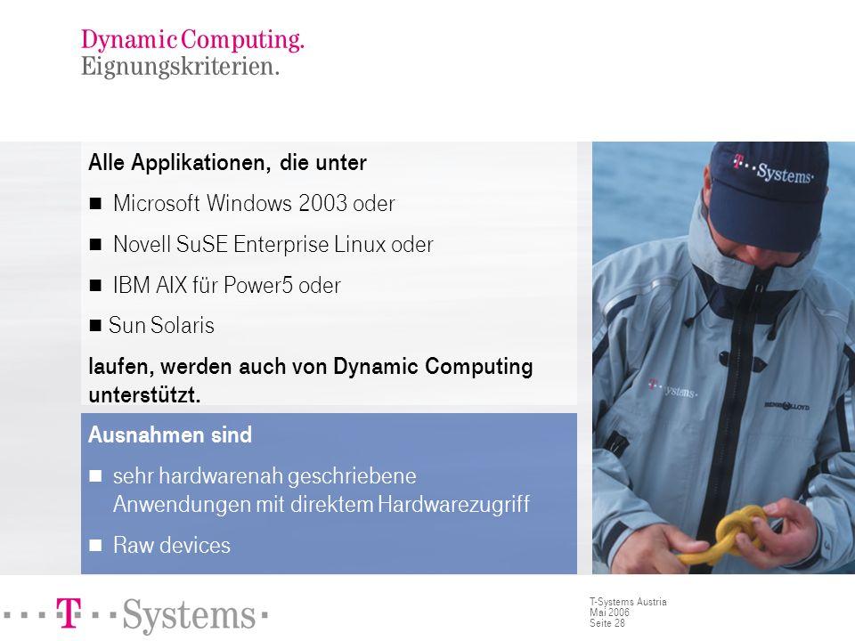 Seite 28 T-Systems Austria Mai 2006 Dynamic Computing. Eignungskriterien. Alle Applikationen, die unter Microsoft Windows 2003 oder Novell SuSE Enterp