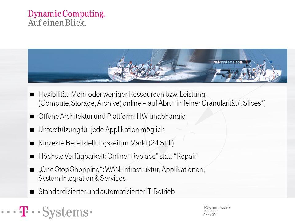 Seite 30 T-Systems Austria Mai 2006 Dynamic Computing. Auf einen Blick. Flexibilität: Mehr oder weniger Ressourcen bzw. Leistung (Compute, Storage, Ar