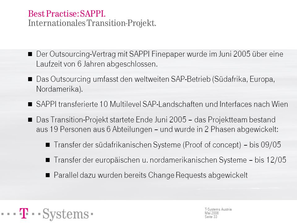 Seite 33 T-Systems Austria Mai 2006 Best Practise: SAPPI. Internationales Transition-Projekt. Der Outsourcing-Vertrag mit SAPPI Finepaper wurde im Jun