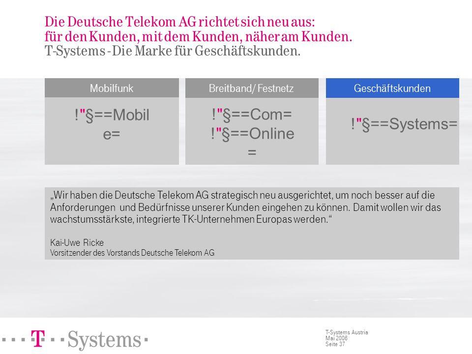 Seite 37 T-Systems Austria Mai 2006 Die Deutsche Telekom AG richtet sich neu aus: für den Kunden, mit dem Kunden, näher am Kunden. T-Systems - Die Mar
