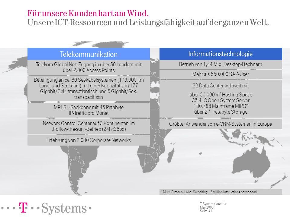 Seite 41 T-Systems Austria Mai 2006 Für unsere Kunden hart am Wind. Unsere ICT-Ressourcen und Leistungsfähigkeit auf der ganzen Welt. Telekom Global N