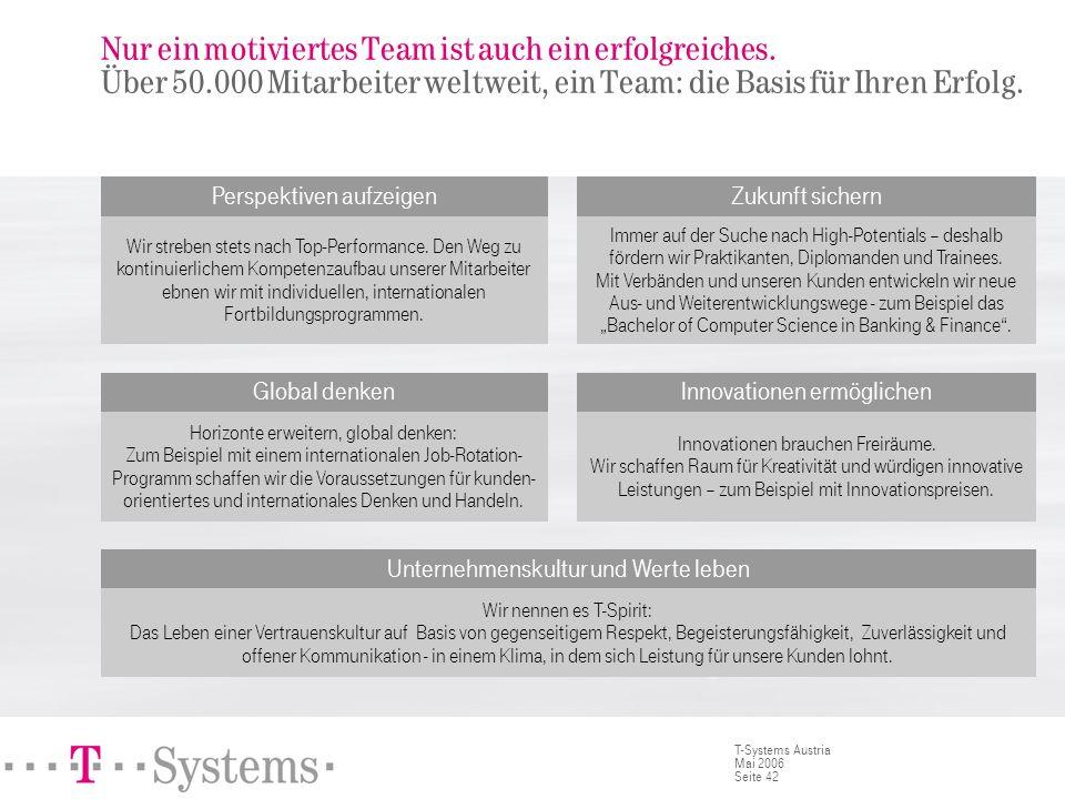 Seite 42 T-Systems Austria Mai 2006 Nur ein motiviertes Team ist auch ein erfolgreiches. Über 50.000 Mitarbeiter weltweit, ein Team: die Basis für Ihr