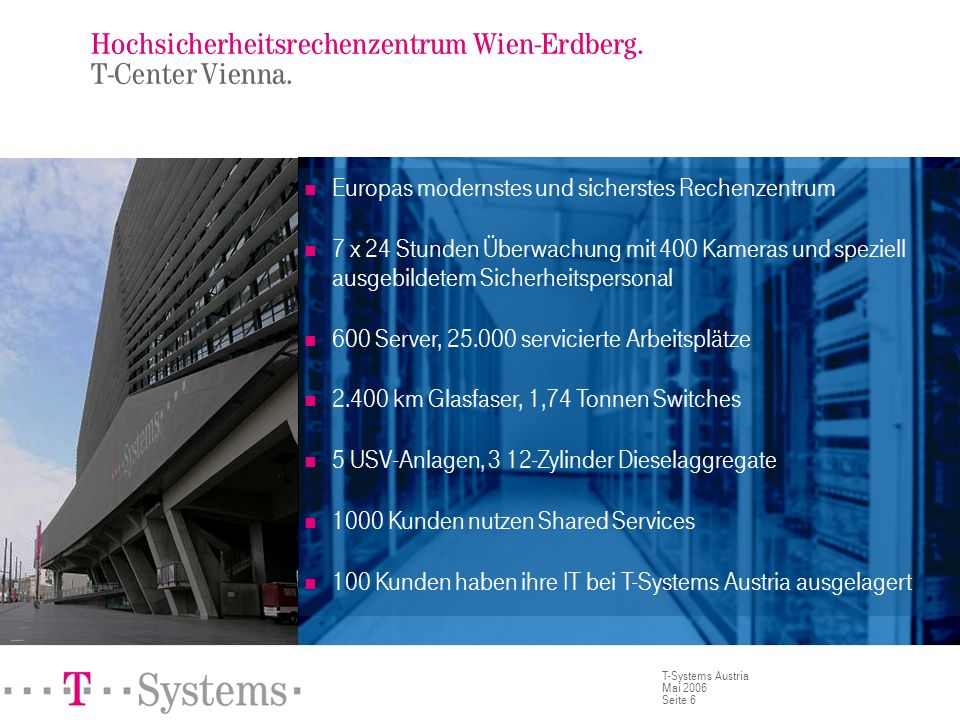 Seite 6 T-Systems Austria Mai 2006 Hochsicherheitsrechenzentrum Wien-Erdberg. T-Center Vienna. Europas modernstes und sicherstes Rechenzentrum 7 x 24