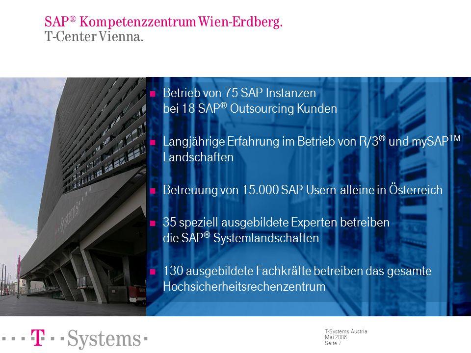 Seite 7 T-Systems Austria Mai 2006 SAP ® Kompetenzzentrum Wien-Erdberg. T-Center Vienna. Betrieb von 75 SAP Instanzen bei 18 SAP ® Outsourcing Kunden