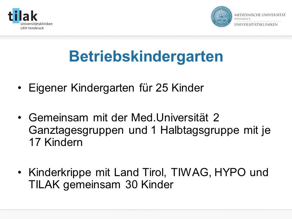 Betriebskindergarten Eigener Kindergarten für 25 Kinder Gemeinsam mit der Med.Universität 2 Ganztagesgruppen und 1 Halbtagsgruppe mit je 17 Kindern Kinderkrippe mit Land Tirol, TIWAG, HYPO und TILAK gemeinsam 30 Kinder