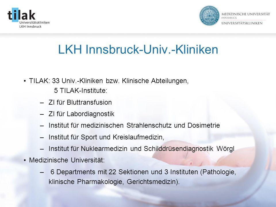 LKH Innsbruck-Univ.-Kliniken TILAK: 33 Univ.-Kliniken bzw.